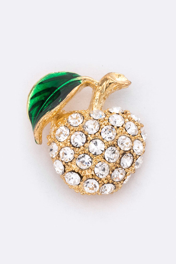 Crystal Apple Lapel Pin