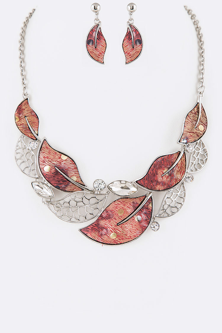 Crystal & Metal Leaf Statement Necklace Set