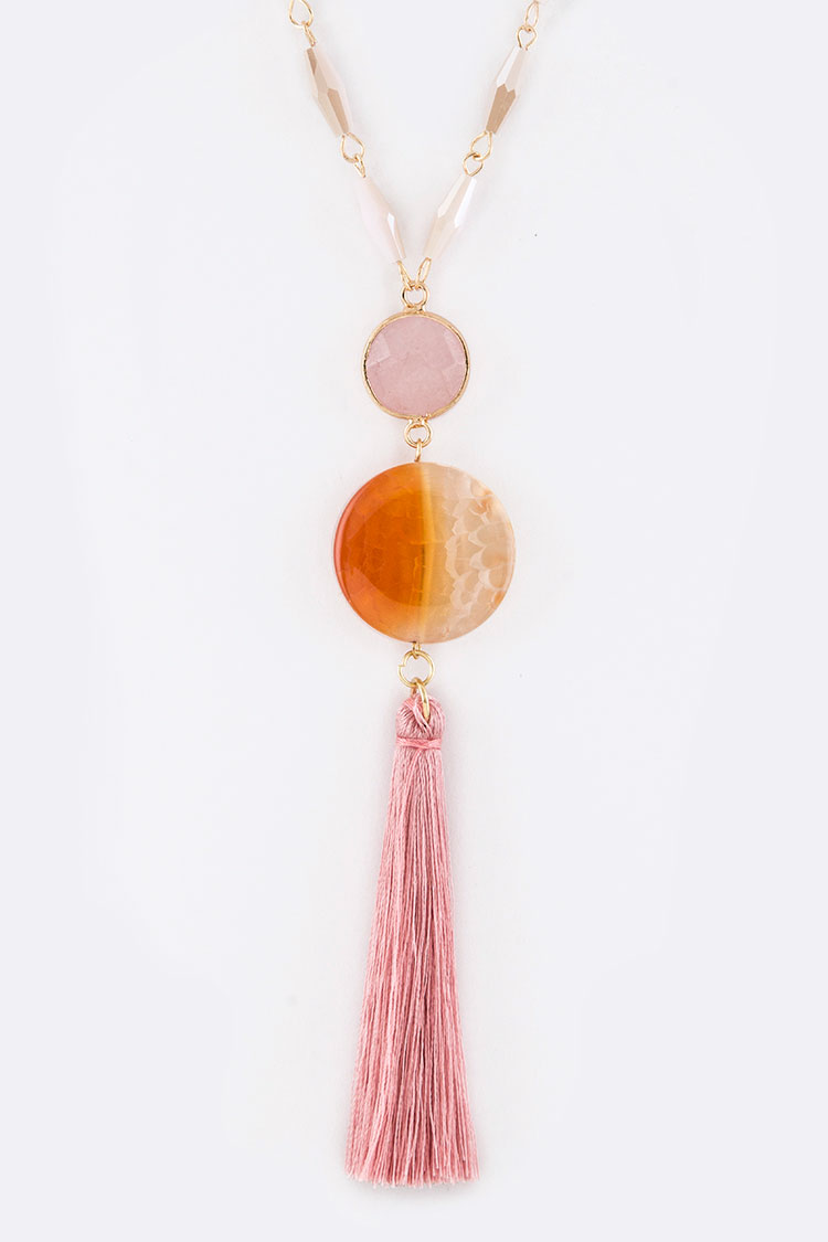 Stone Disks & Tassel Necklace