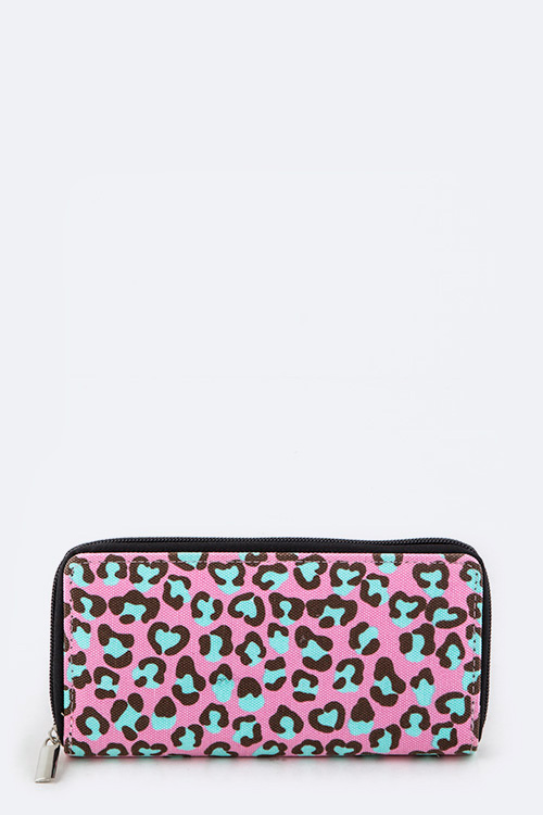 Pink Leopard Zipper Wallet