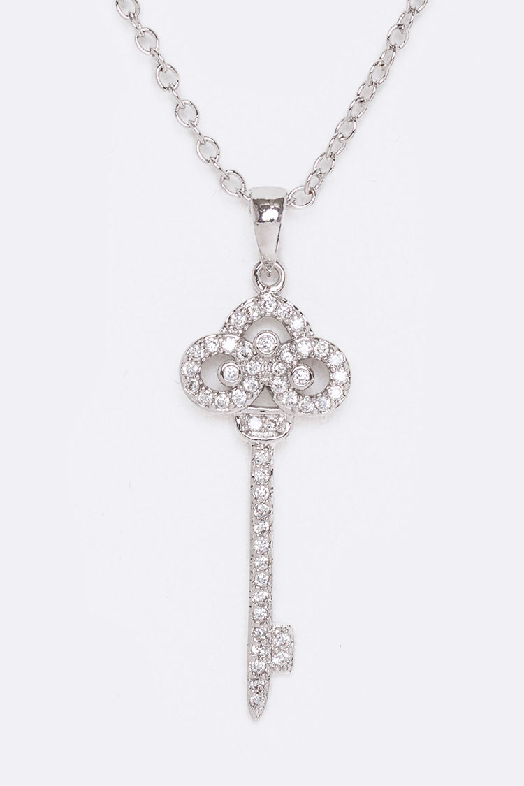 CZ Key Pendant Necklace