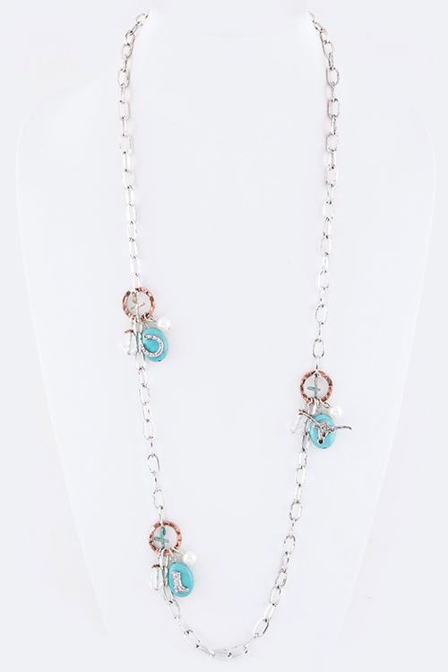 Mix Western Charms Station Long Necklace