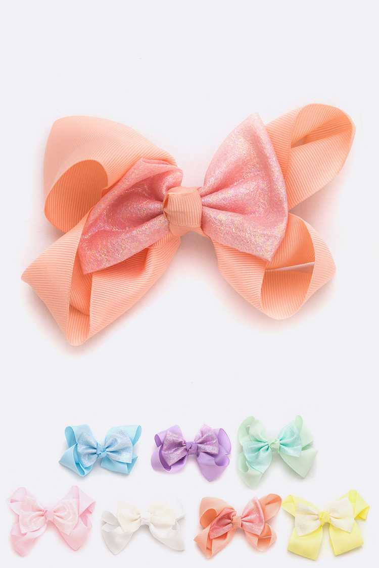 Metallic Accent Large Bow Clip Set