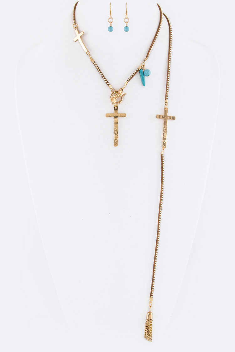 Cross Charms Convertible Necklace Set