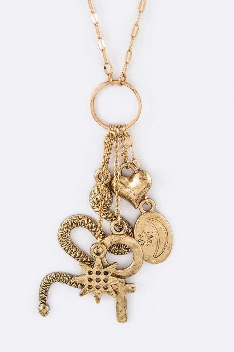 Snake & Mix Charms Necklace