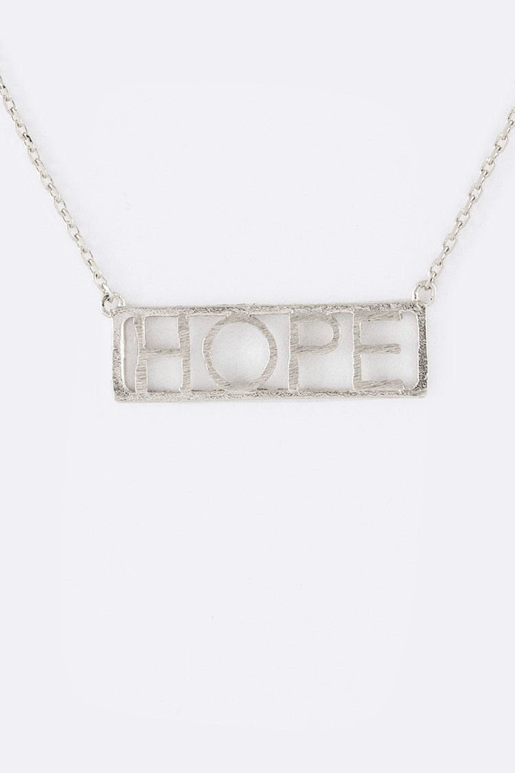 HOPE Cutout Tag Necklace