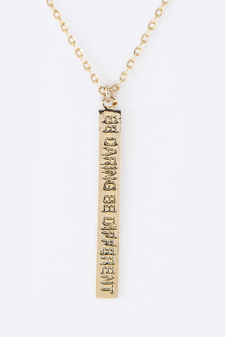 Be Daring Be Different Tag Pendant Necklace