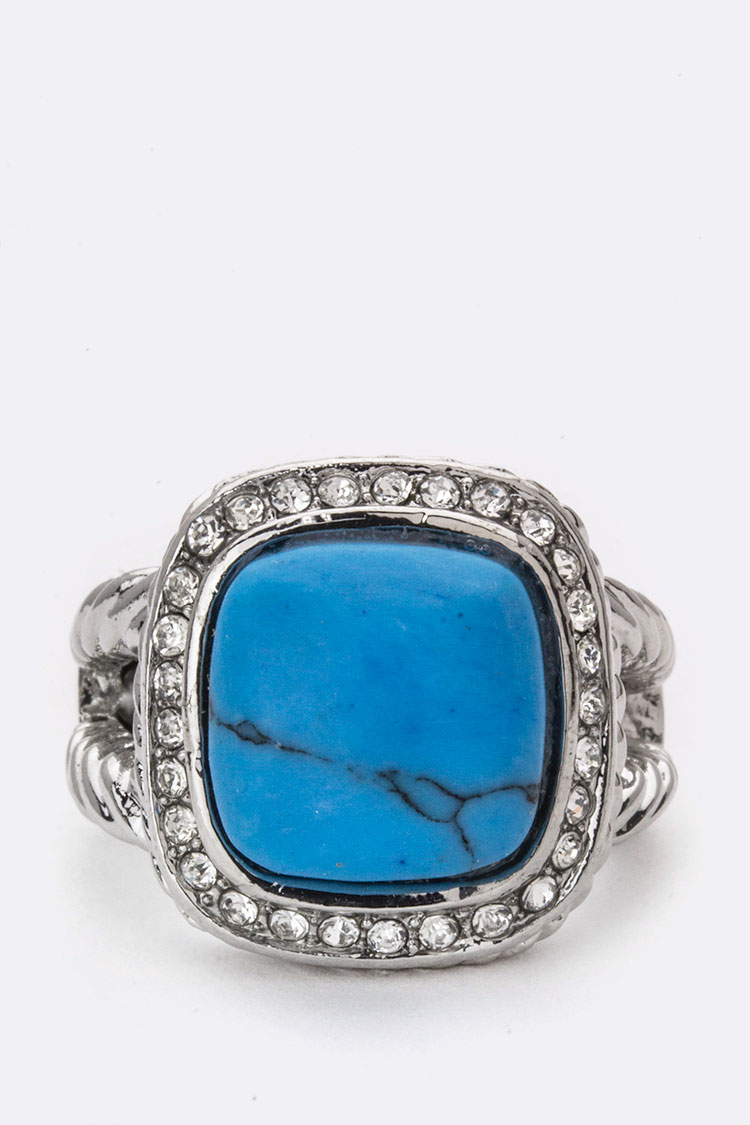 Crystal & Moon Stone Stretch Ring