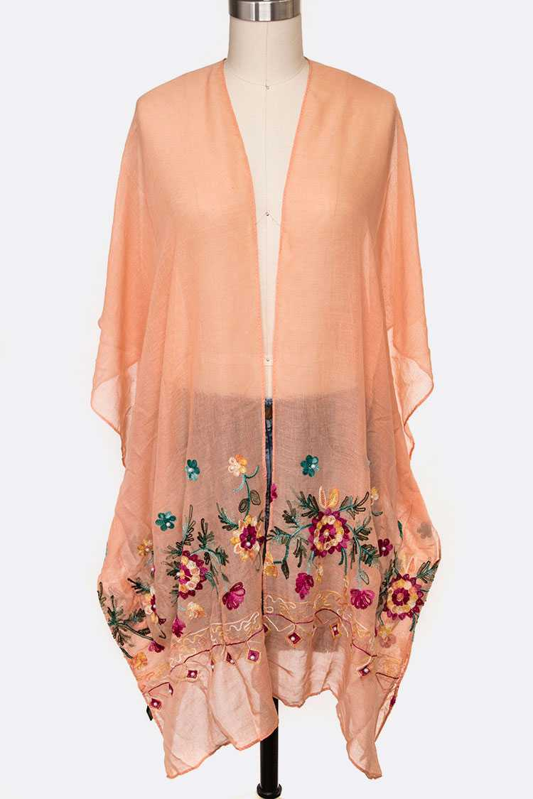 Embroidered Flower Light Weight Kimono Cardigan