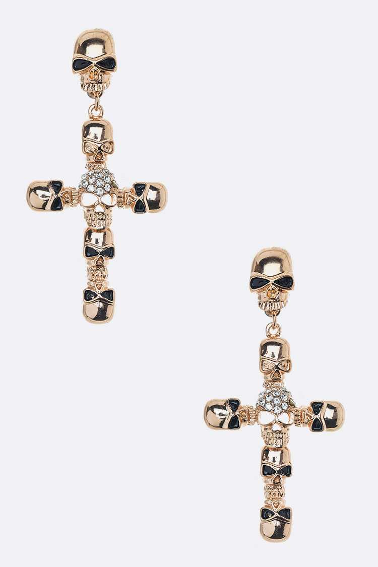 Crystal Skull Cross Drop Earrings
