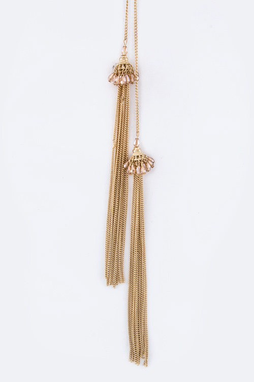 Fringe Bead Tassels Drop Necklace