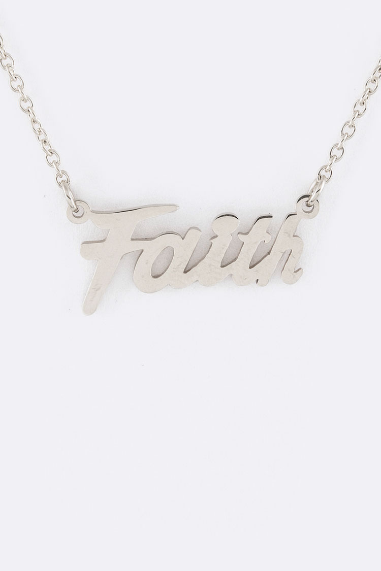 FAITH Stainless Steel Pendant Necklace