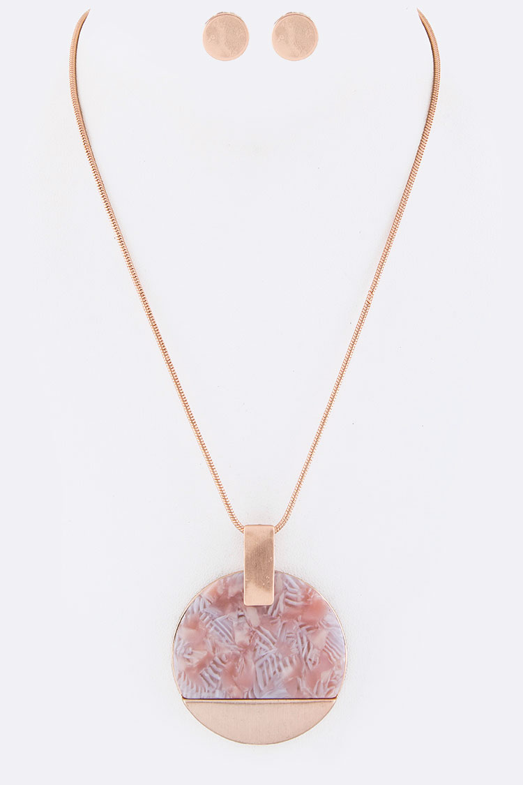 Pave Resin Disk Pendant Necklace Set