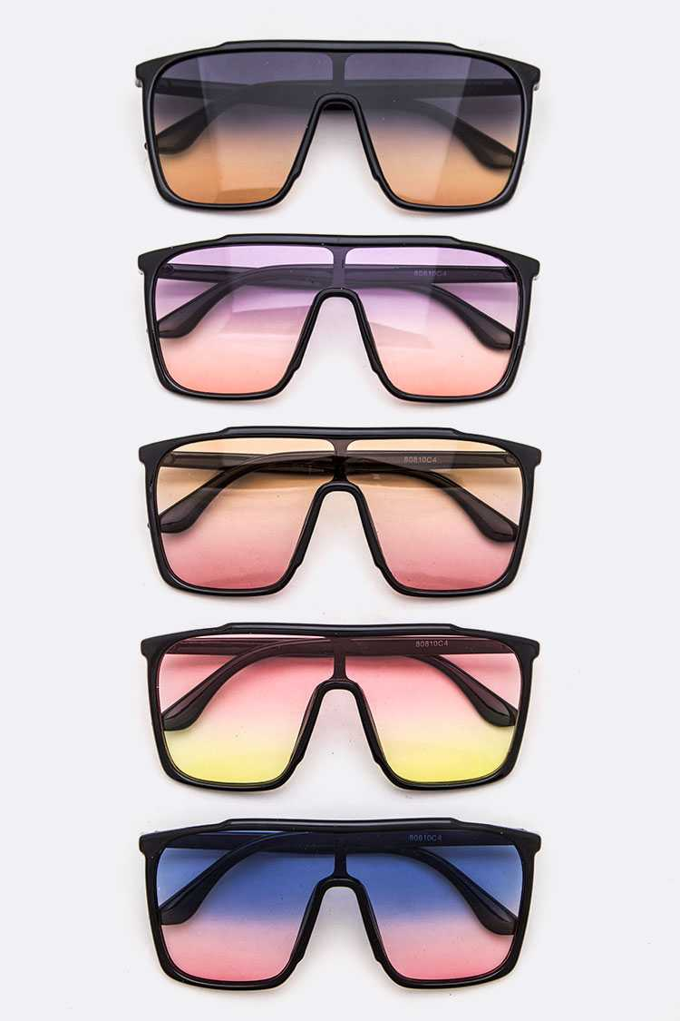 Oversize Mix Tone Square Sunglasses Set