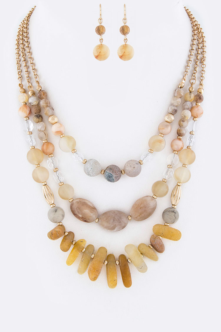 Mix Stone Beads & Naggets Layer Statement Necklace Set