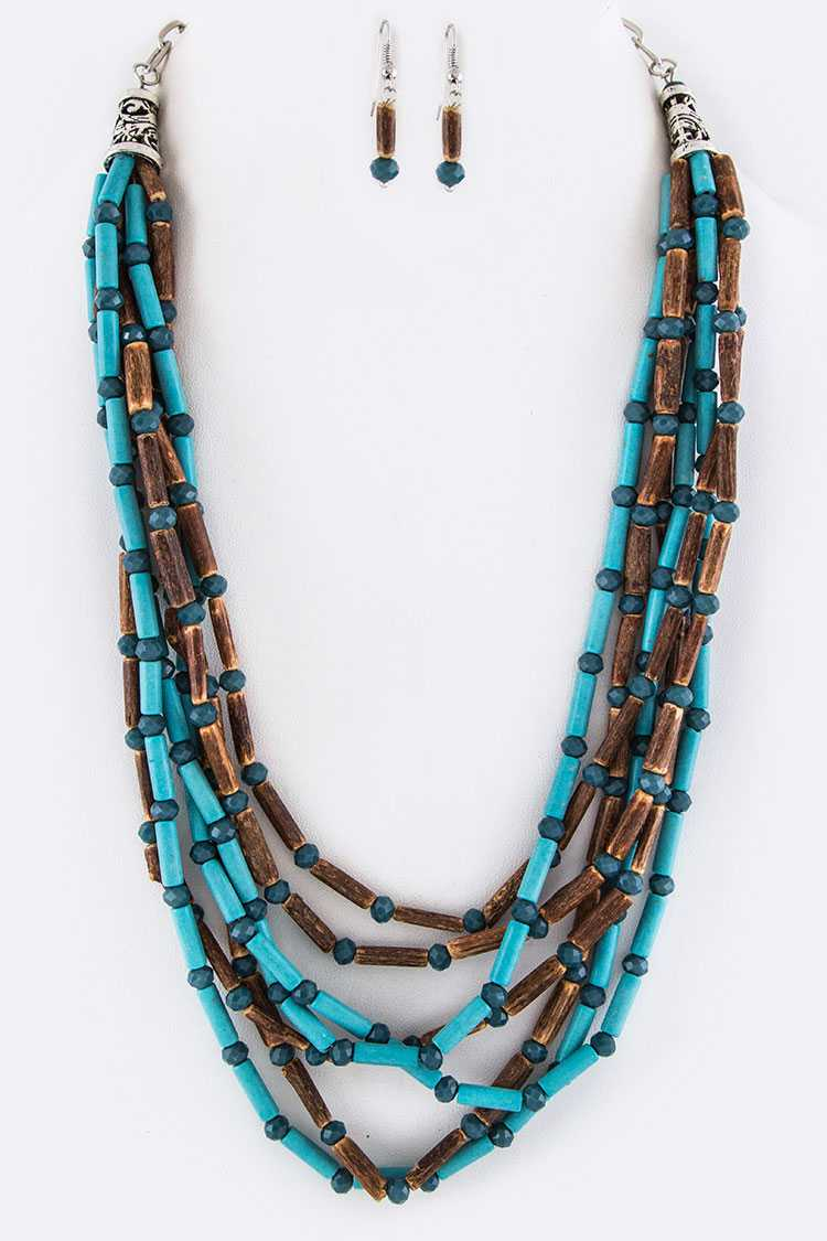 Turquoise With Wooden Tubing Beads Layered Necklace Set