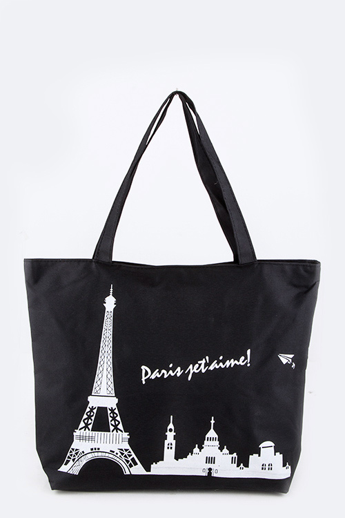 PARIS JE T'AIME Printed Fashion Tote