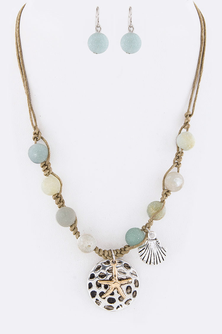 Stone Beads Sea Life Mix Charms Necklace Set