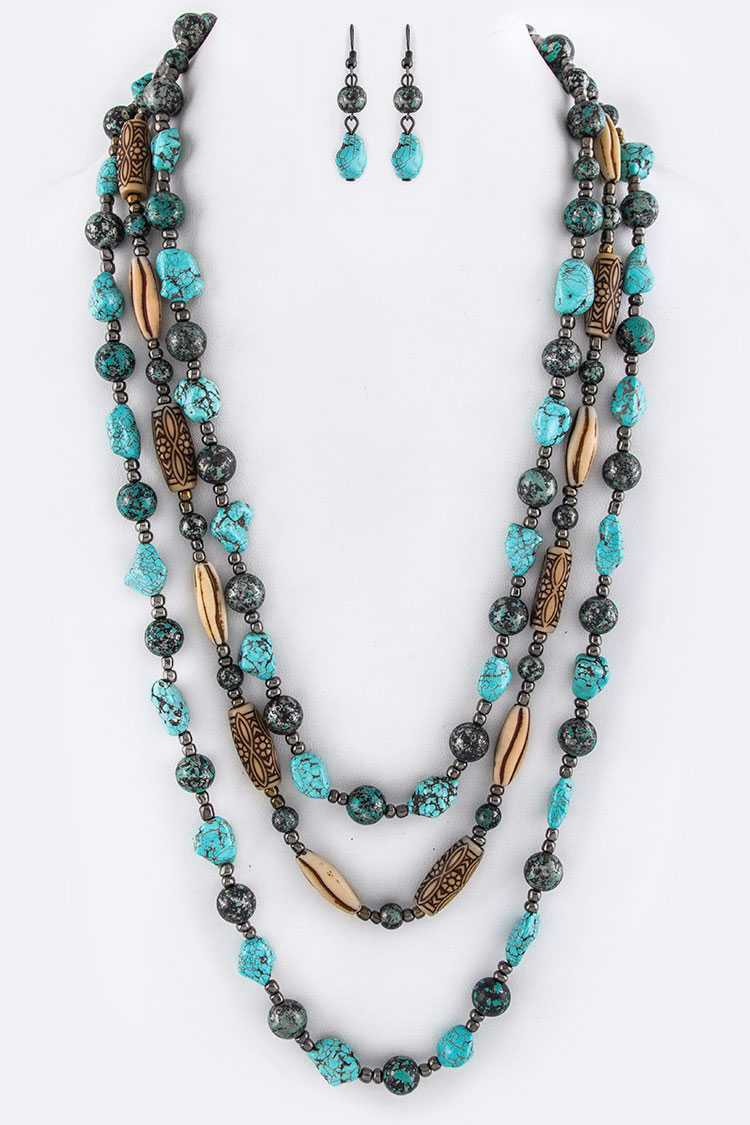 Turquoise Mix Beads Layered Necklace Set