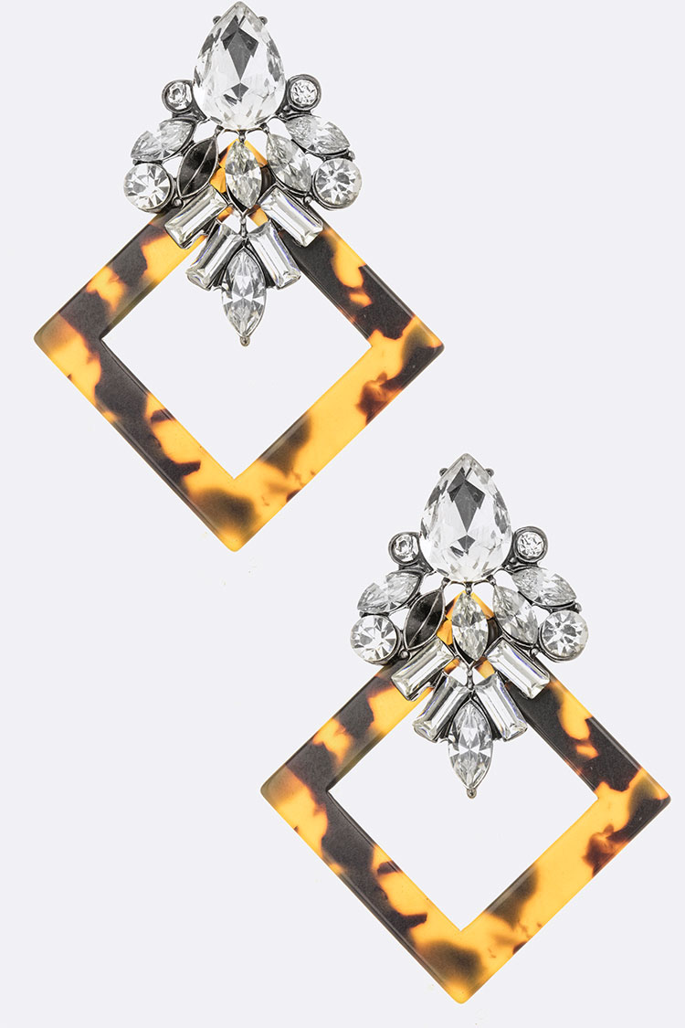 Crystal Mix Celluloid Iconic Earrings