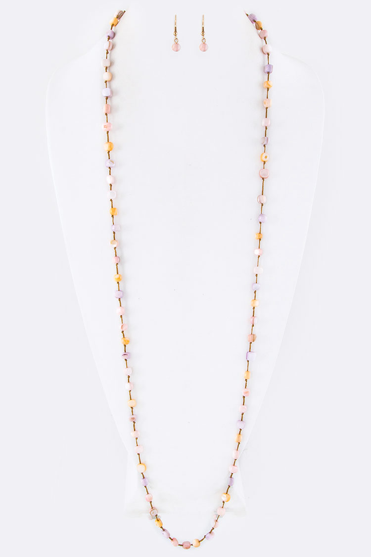 Mix Genuine Stone Beads Long Stationed Necklace Set