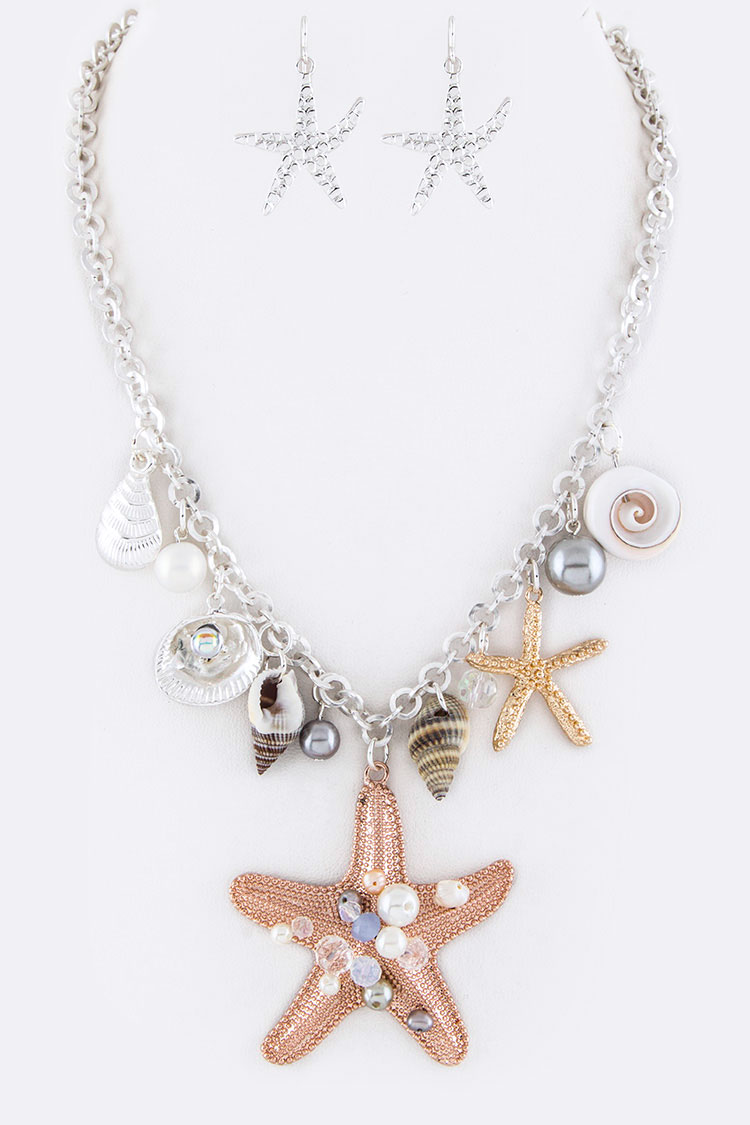 Mix Starfish Charms Statement Necklace Set
