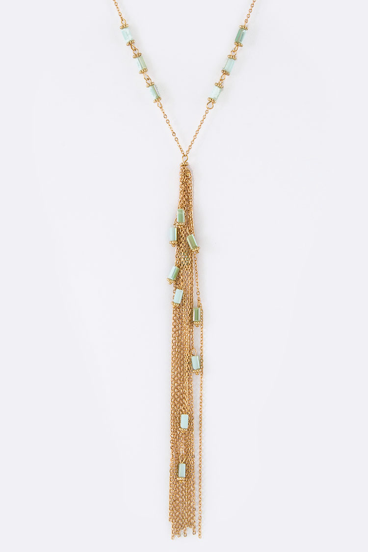 Bead & Chain Long Tassel Necklace Set