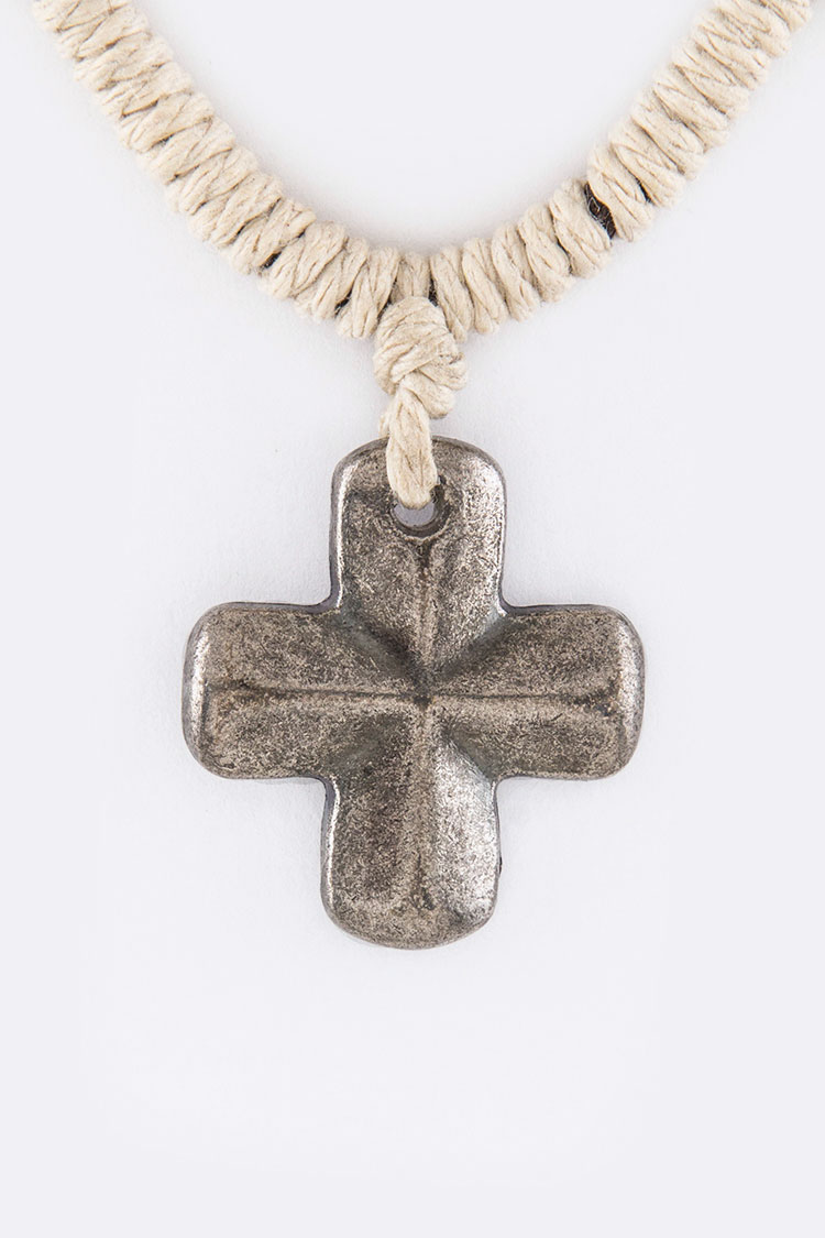 Cross Pendant Adjustable Cording Necklace