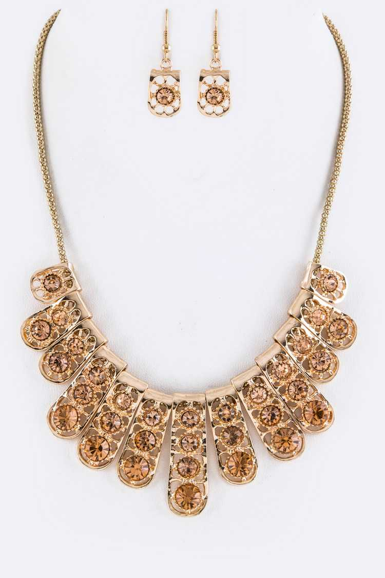 Crystal Bars Statement Necklace Set