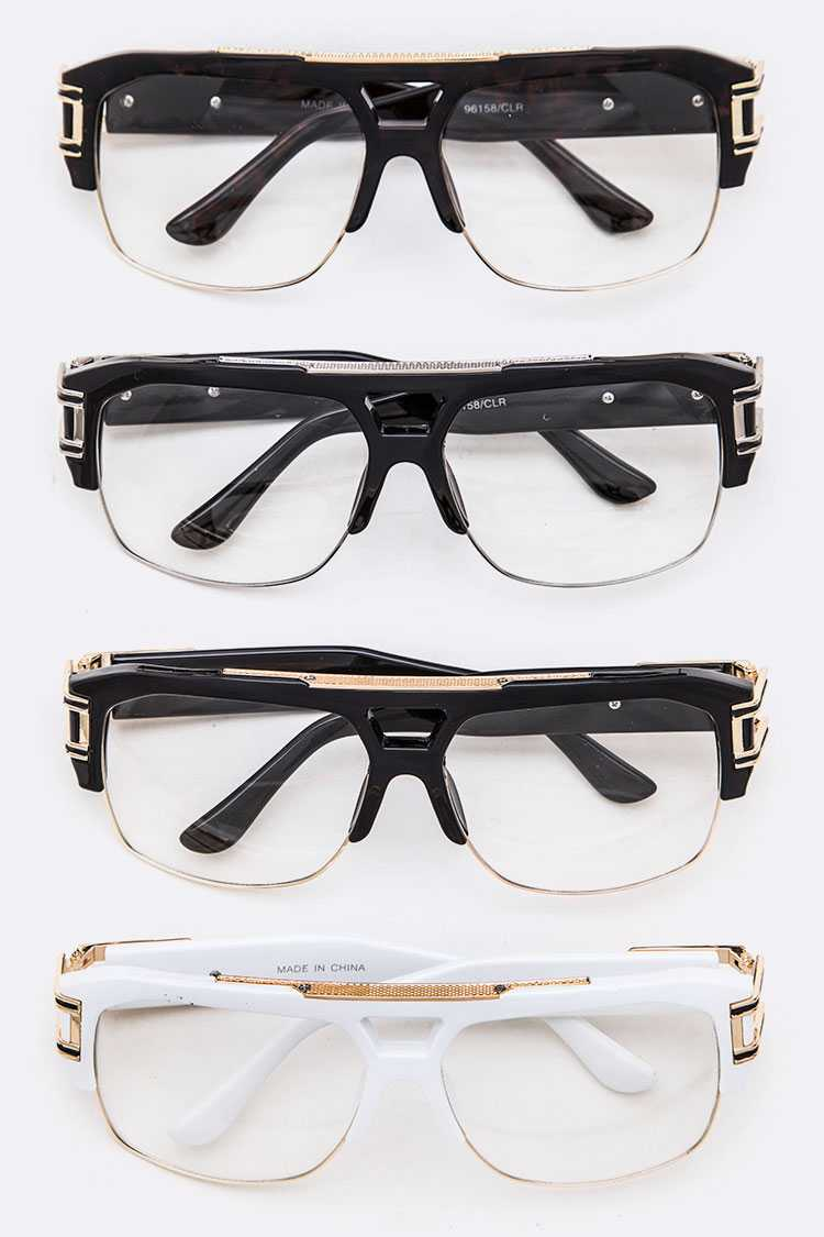Iconic Gold Trim Temple Clear Optical Glasses