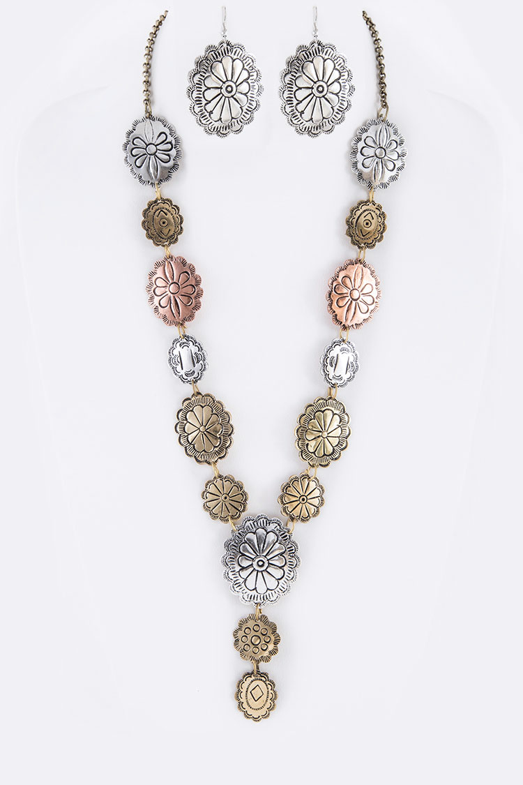 Mix Concho Statement Western Necklace Set