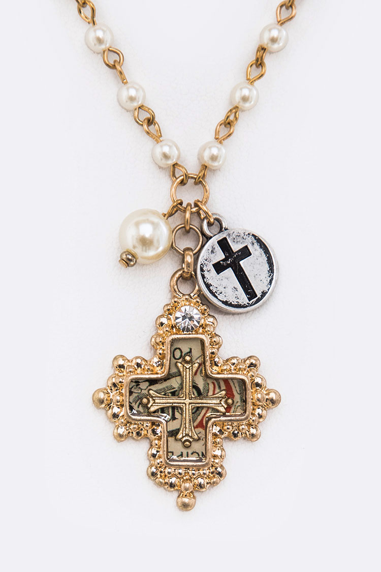 Iconic Cross Pendant Pearls Station Necklace