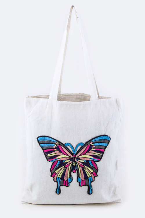 Embroidered Butterfly Fashion Tote
