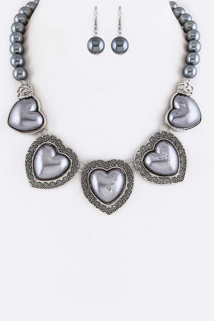 Pearls & Embossed Rose Heart Necklace Set