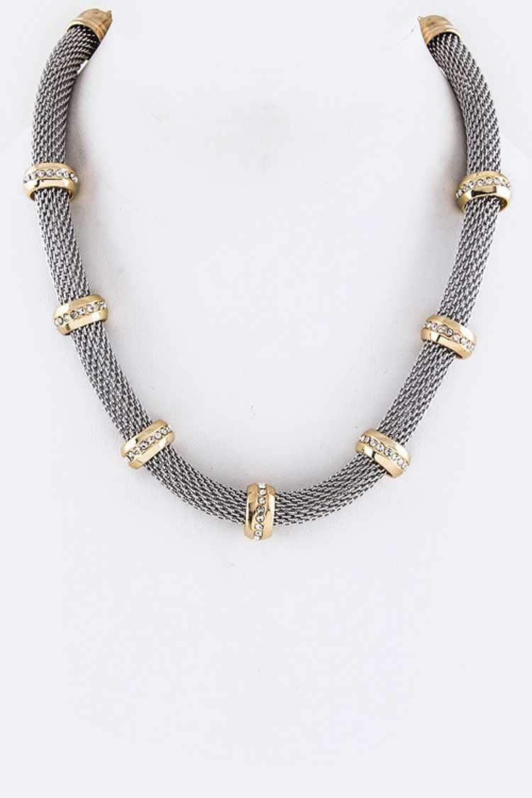 Crystal Hoops Stationed Necklace