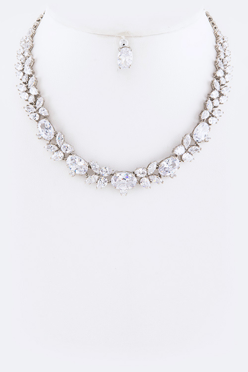 Cubic Zirconia Jewelry Sets : Cubic zirconia statement necklace set
