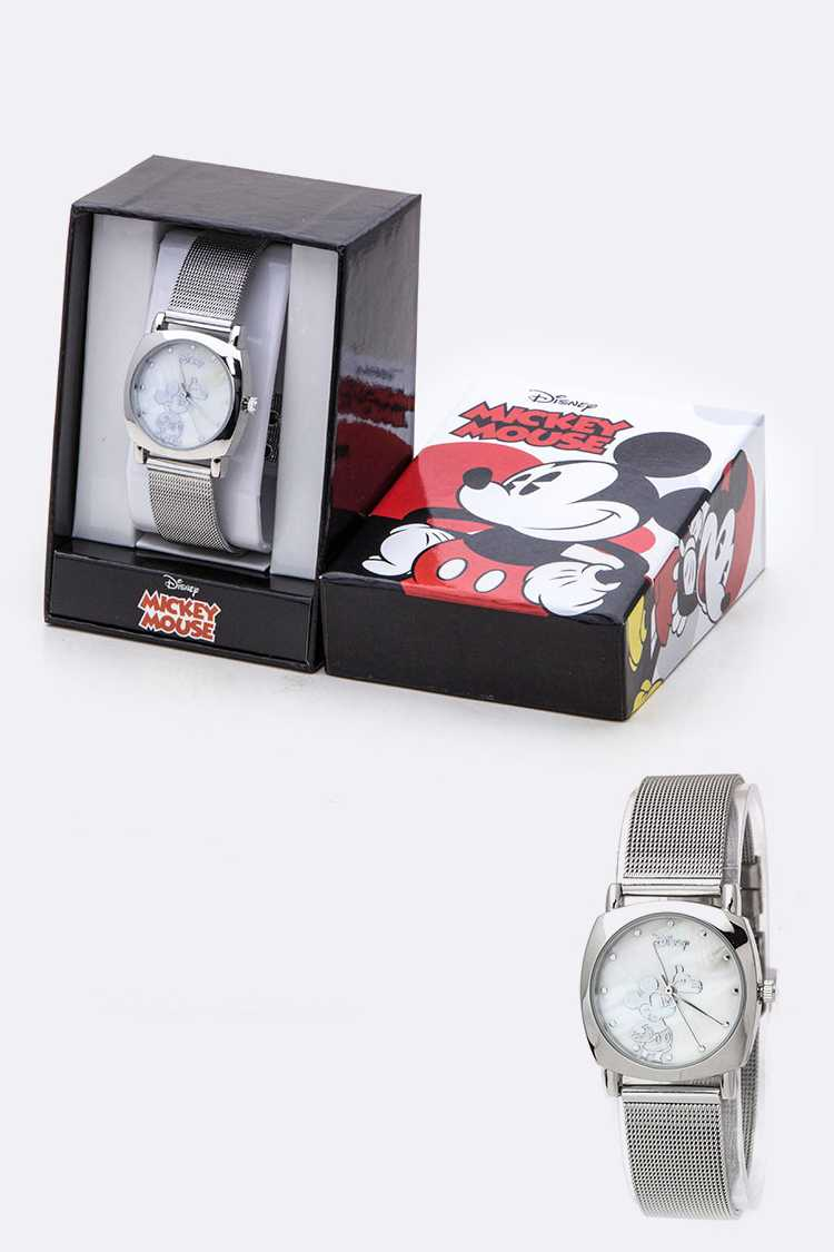 Metal Mesh Band Mickey Watch