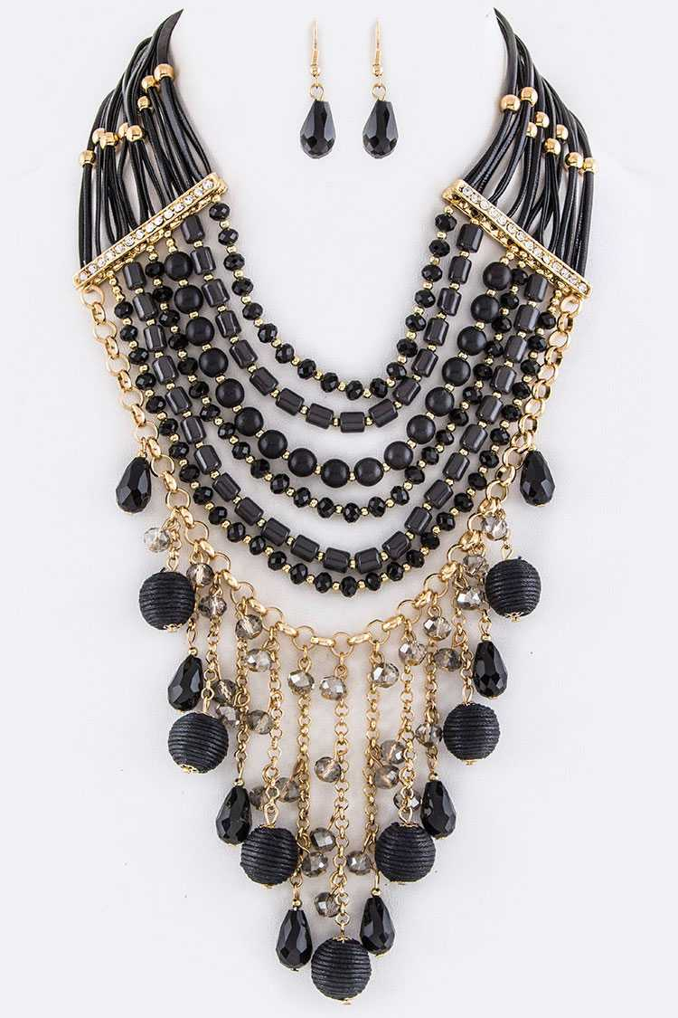 Fringe Yarn Balls & Mix Beads Layer Necklace Set