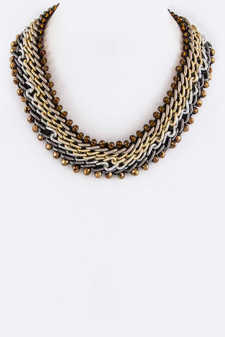 Layer Chains & Beads Collar Necklace