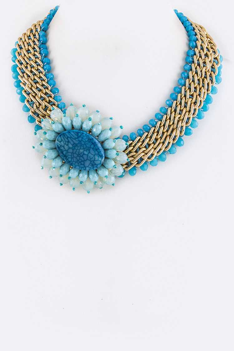 Layer Chains & Bead Flower Necklace