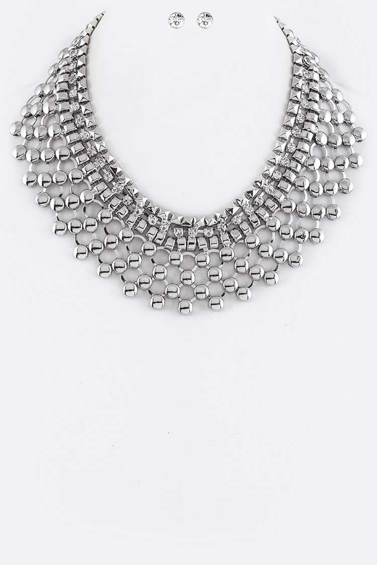 Crystal & Mix Chains Collar Necklace Set