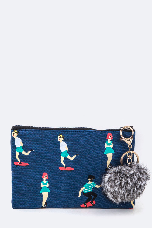 Skaters Print Mini Pouch