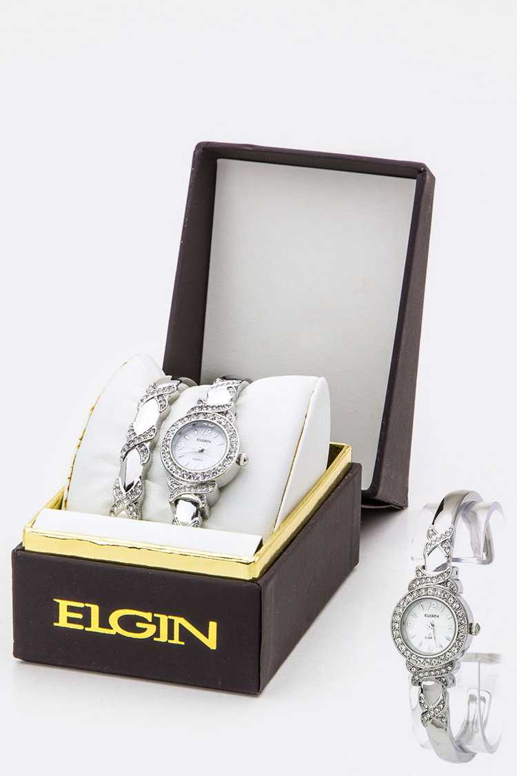 Crystal Bangle Watch Set