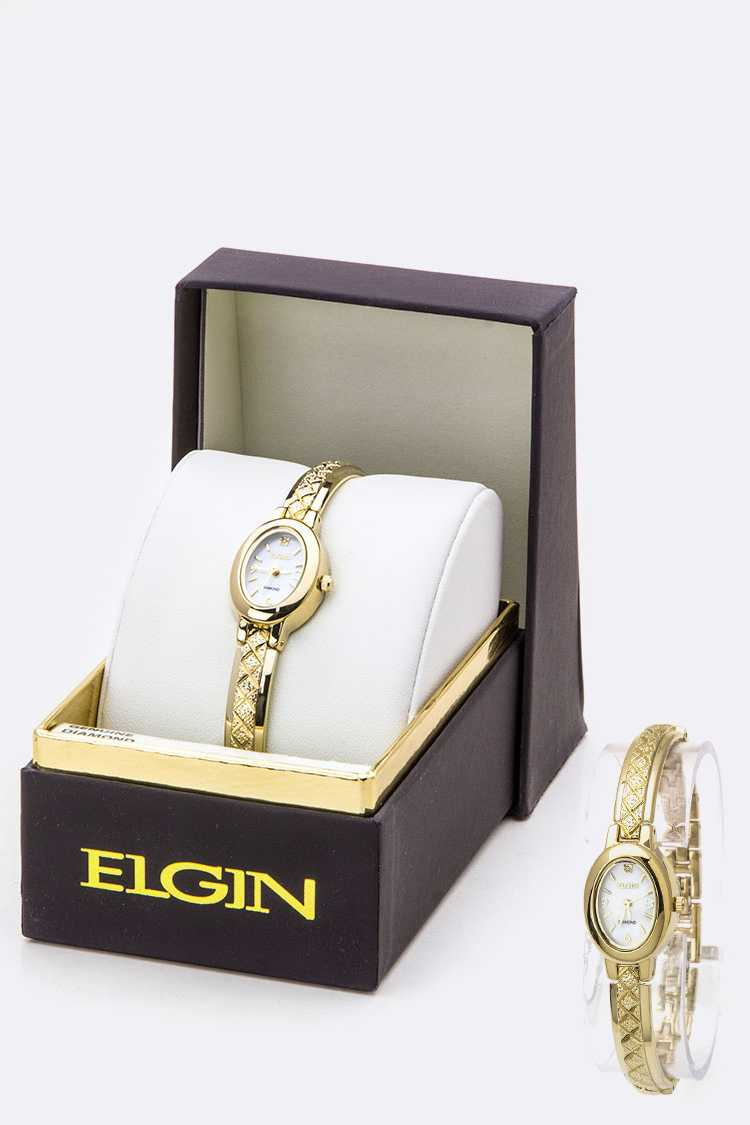 ELGIN Textured Skinny Bangle Watch