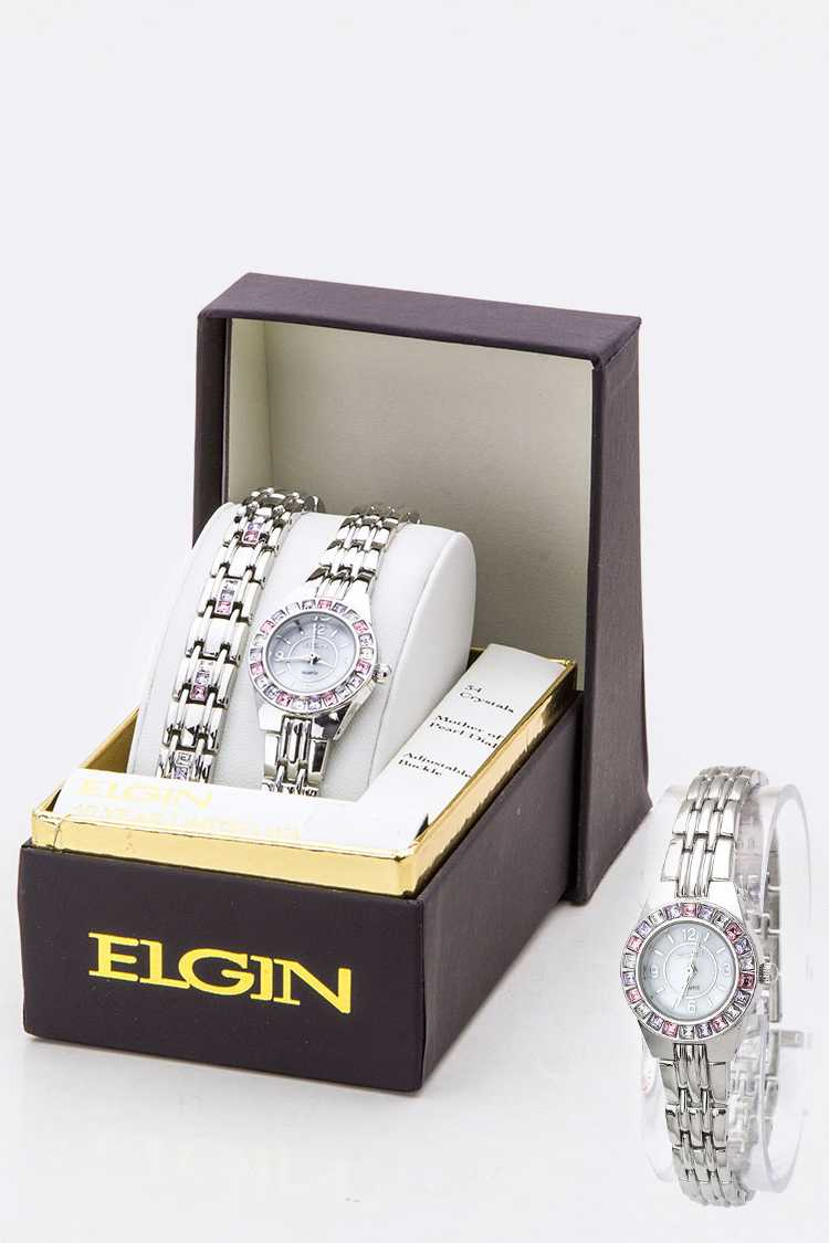 Crystal Bezel Watch & Bracelet Set