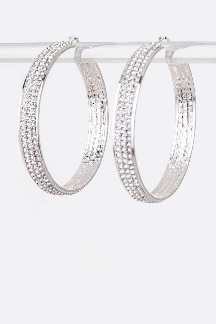 80 MM Rhinestone Iconic Hoop Earrings