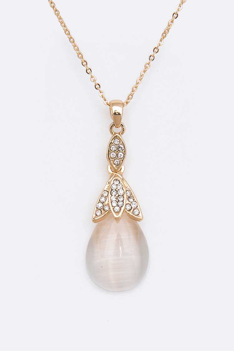 Crystal Pearl Moon Stone Pendant Necklace Set