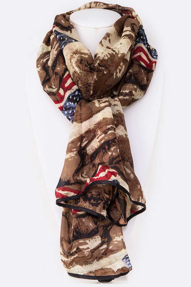 American Flag Camouflage Printed Scarf