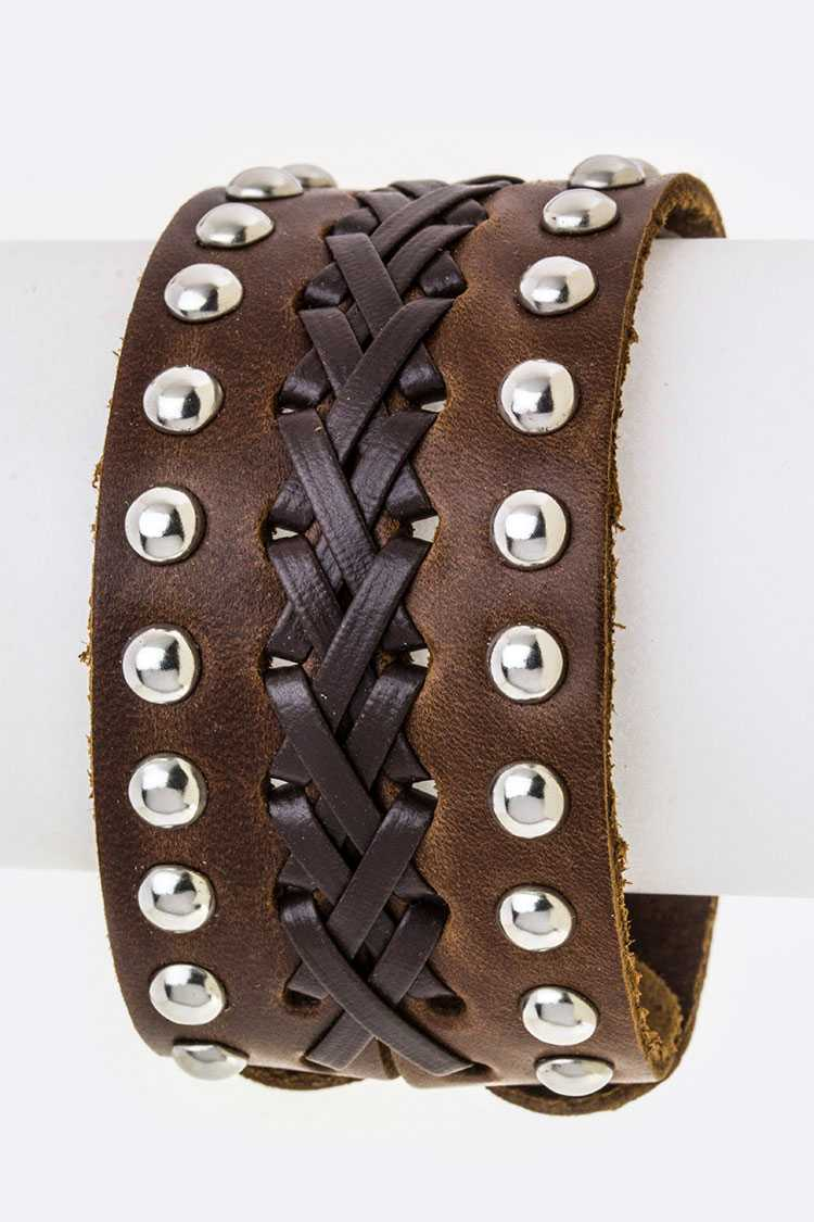 Studs & Laced Leather Cuff