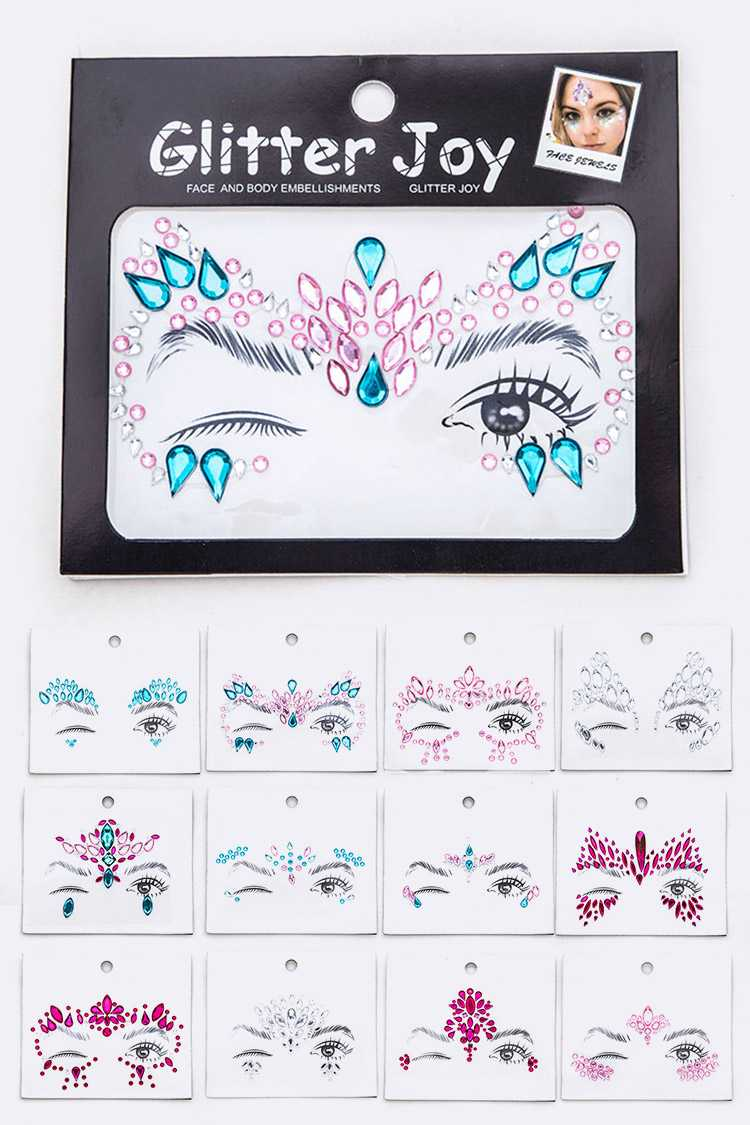 Masquerade Inspired Face Jewel Sticker Set